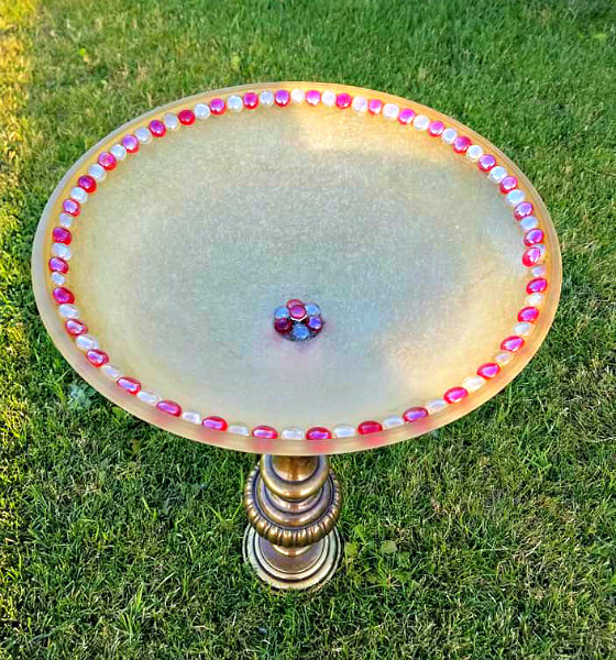 Upcycled Lamp Bird Bath